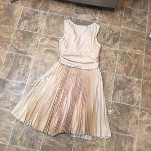 Gold Accordion pleated Fully Lined Midi dress
